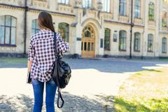 First day at university for young happy female student in casual stock photos