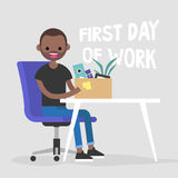First day of work. Young black character holding a box. First day of work. Young black character holding a box with a stationery / flat   illustration, clip Royalty Free Stock Image