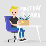 First day of work. Young character holding a box with a stationery. / flat editable vector illustration, clip art Stock Images