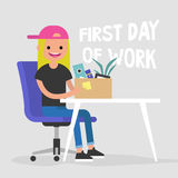 First day of work. Young character holding a box. With a stationery / flat editable vector illustration, clip art Stock Photography