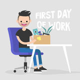 First day of work. Young character holding a box. First day of work. Young character holding a box with a stationery / flat   illustration, clip art Stock Images