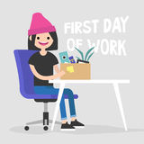 First day of work. Young character holding a box. With a stationery / flat   illustration, clip art Royalty Free Stock Photos