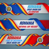 First of December, union day, Romania, national holiday, web banners. Set of web banners, design, background with texts, coat of arms and national flag colors royalty free illustration