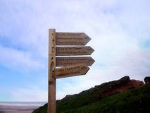First direction direction sign on Coast to Coast walk, England stock photo