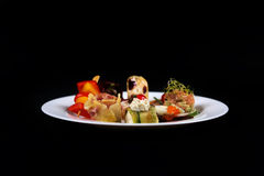 First dish in a plate, copy space Royalty Free Stock Images