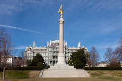First Divison Monument Eisenhower Executive Office Washington. First Divison Monument and Eisenhower Executive Office Building Washington DC in Winter stock image