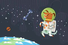 First dog astronaut in spacesuit floating in outer space chasing a sugar bone made of stars. royalty free illustration