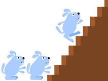 First dog. An illustration of a dog climbing up the stairs leaving the others behind Stock Photo