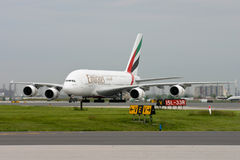 First Emirates Airbus A380-800 in Toronto Stock Image