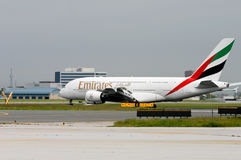 First Emirates Airbus A380 in Toronto Stock Photography