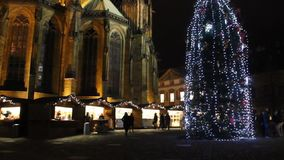 The first ever traditional Christmas markets at the famous Prague castle behind the St. Vitus Cathedral at Stajovy dvur, 2015. The first ever traditional stock video