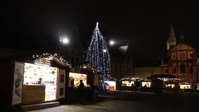 The first ever traditional Christmas markets at the famous Prague castle behind the St. Vitus Cathedral at Stajovy dvur, 2015. The first ever traditional stock video footage