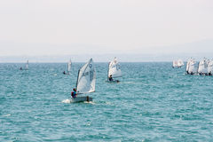 The first exit in the sea young sailors. Pomorie. Bulgaria royalty free stock photos