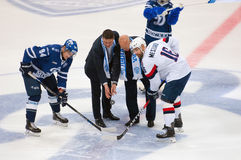 First faceoff. MOSCOW, RUSSIA - OCTOBER 12, 2016: I. Bakhmutov and A. Belonozhkin on first faceoff on hockey game Dynamo Moscow vs Slovan Bratislava on Russia Stock Photography