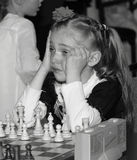 First failure. Child 7 years old at chess competition Royalty Free Stock Photography