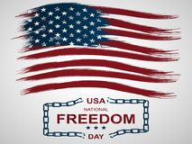 First of February National Freedom Day in the United States. Illustration with american. flag and broken chains. First of February National Freedom Day in the stock illustration