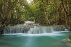First floor of Huay Mae Kamin waterfall,Thailand Stock Image