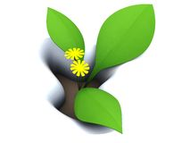 First flower. 3d illustration of first spring flower in snow Royalty Free Stock Image