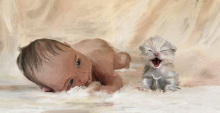 First friend. Portrait of Newborn Baby and kitten. Digital  hand drawing simulated oil paintng Royalty Free Stock Photos