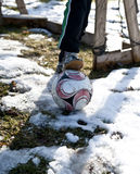 Seasons first soccer goal. First game of soccer coming up after a long winter break Stock Photography