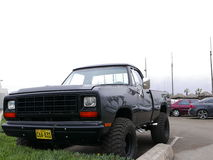 First generation of a pickup truck Dodge Ram, Lima. Lima, Peru. August 14, 2016. Gray color mint condition full size four wheel drive pickup truck Dodge Ram with royalty free stock image