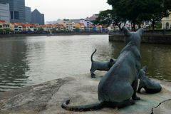 First Generation sculpture by Chong Fah Cheong along Singapore R Royalty Free Stock Photography