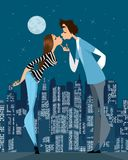 First gentle kiss. Vector illustration of the first gentle kiss Stock Images