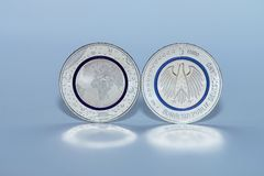 First German Five Euro Coin Stock Photo