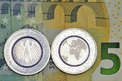 First German Five Euro Coin. With blue polymer ring Stock Image
