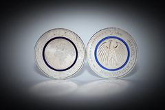 First German Five Euro Coin. With blue polymer ring Stock Photography