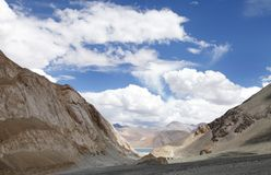 First glimpse of Pangong lake Royalty Free Stock Photography