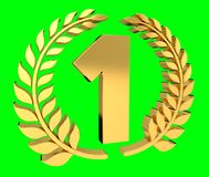First golden price icon 3D rendering. First golden price icon on green background 3D rendering Royalty Free Stock Photos