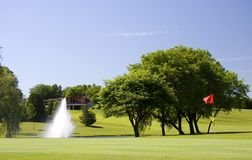 First Golf Green To The Clubhouse Stock Photography