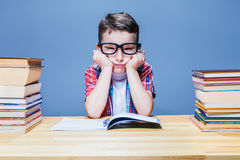 First grade child learns homework Royalty Free Stock Image