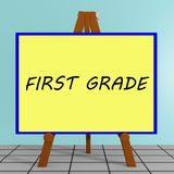 First Grade concept. 3D illustration of FIRST GRADE title on a tripod display board Stock Photo