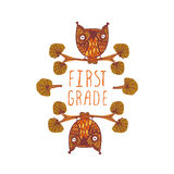 First grade. Hand-sketched typographic element with cute little owls. Suitable for decoration, ads, signboards, packaging, prints and web designs Stock Photo