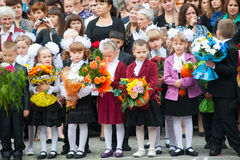 First-grade pupils, teacher and parents. Tyumen Royalty Free Stock Images