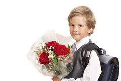 The first-grader with a bouquet Stock Photo