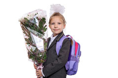 First grader with a bouquet of flowers Stock Photos