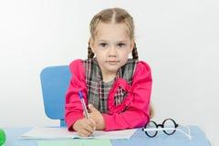 First grader do homework Royalty Free Stock Image