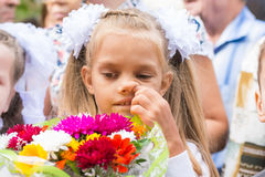 First grader on first line in September picking his nose Stock Photography