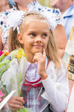 First grader on first line of thought happily September Royalty Free Stock Image
