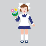 First grader girl with flowers in retro school uniform. Flat style, vector illustration Stock Photos