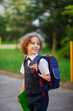 First grader goes to school. Stock Photo