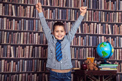 First-grader rejoices school and a good estimate Stock Photo