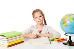 First grader at the school-desk Stock Photos