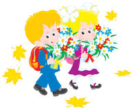 First graders. Vector clip-art illustration of a schoolboy and schoolgirl, elementary school students, holding their flower bouquets and going to school Stock Photo