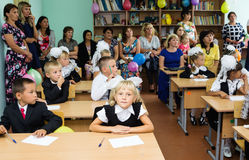 First-graders with their parents at the first lesson on September 1 Royalty Free Stock Photography