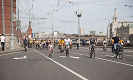 The first great Bicycle ride in Moscow Stock Photos