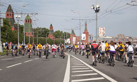 The first great Bicycle ride in Moscow Stock Photo